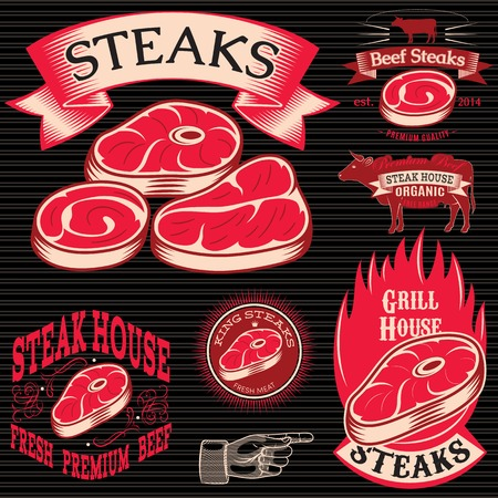 set vector template for grilling, barbecue, steak house, menu Vector