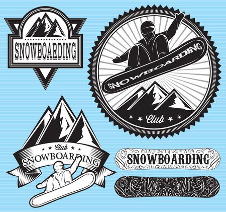 set of templates badges for extreme sport, snowboarding Illustration