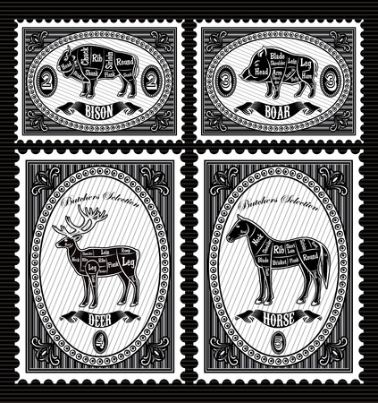horse meat: vector set of vector postage stamps with boar, bison, deer, horse