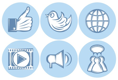 file sharing: set of icons for social networking, internet, Like, file sharing Illustration