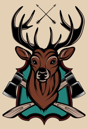 woodcutter: stags head as a trophy