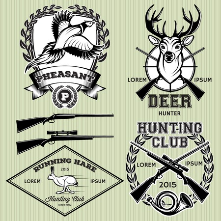 set of vector emblems with a deer, hare, pheasant for hunting Illustration