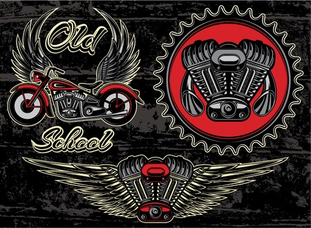motorway: vector set of retro emblems on the motorcycle theme