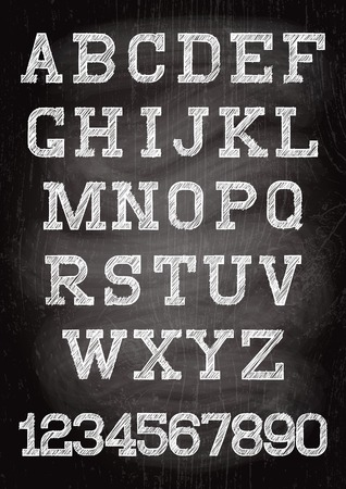 木の板に書かれているチョーク白いビンテージ フォント 写真素材 - 35481299