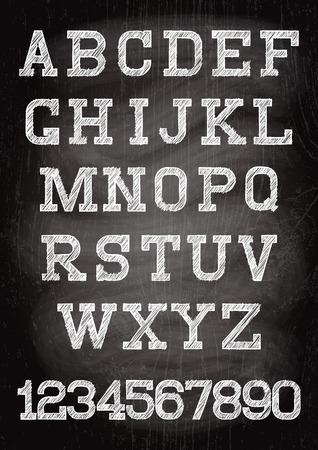 chalk board: white vintage font written chalk on the wooden board Illustration