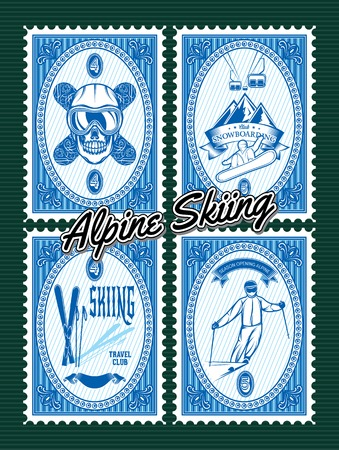 nordic ski: vector set of stamps with winter extreme sports