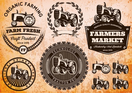 farms: set of vector labels with a tractor for livestock and crop