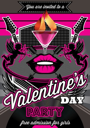 Disco background for Valentine party poster with lips Vector