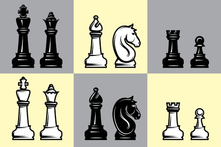 D Line Drawing Game : Complete black and white 3d chess set game pieces checker