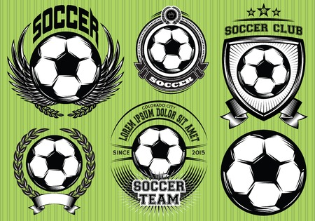 banni�re football: Ensemble de football Badge Logo et mod�les de conception Illustration