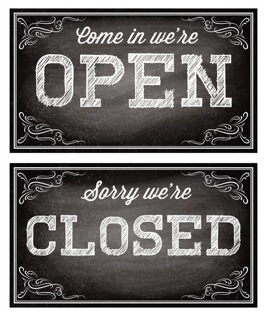 letreros: plantillas para letreros abiertos y cerrados en el estilo retro