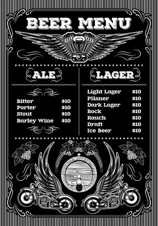 beer card: template for the beer menu on a black background with motorcycles and wings