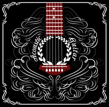 playing guitar: grungy background with black acoustic guitar