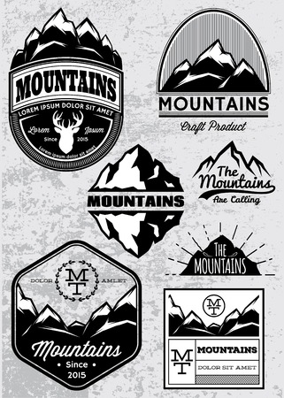 snow mountains: set of templates for emblems with different mountains