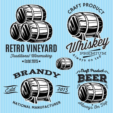 beer label design: set of vector patterns for monochromatic emblems with barrels