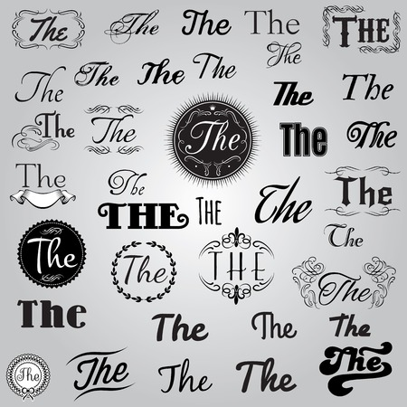 catchword: vector set of monochrome Catchword in retro style Illustration