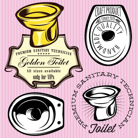 set of vector elements for making logos with toilet bowl Vector