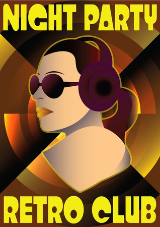 vector girl: vector abstract retro poster with a girl DJ Illustration