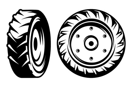 vector set of monochromatic tractor wheels of different kinds Çizim