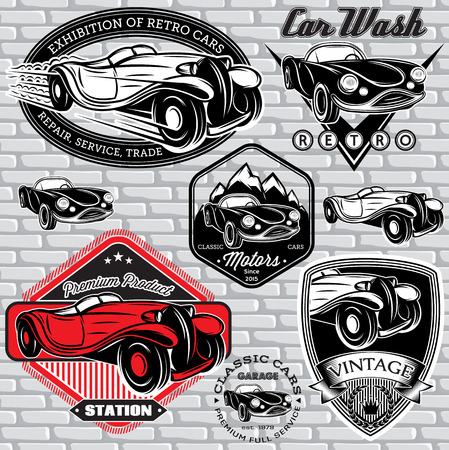 washes: set of vector emblems with retro car on wall