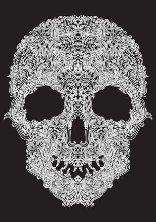macabre: stylized human skull from Floral elements on a black background