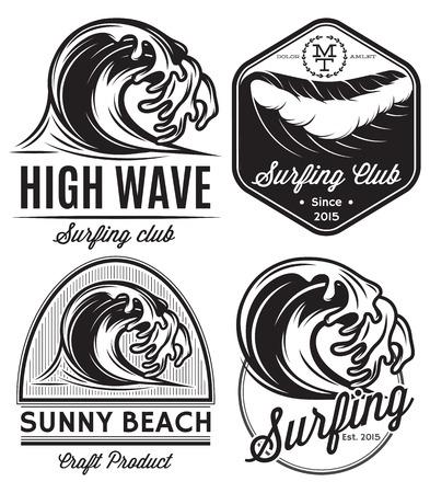 vague: ensemble de modèles de vecteur pour la conception icône sur le thème de l'eau, surf, océan, mer