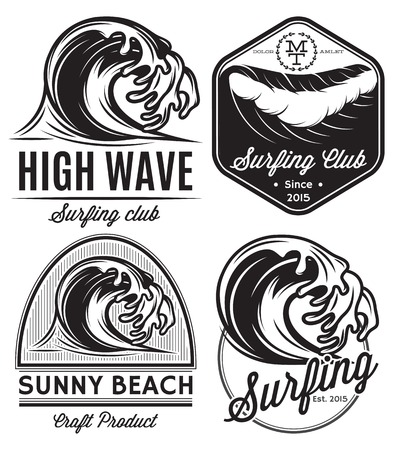 set of vector patterns for design icon on the theme of water, surfing, ocean, sea Vettoriali