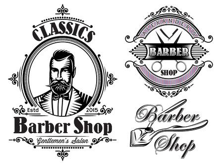 bigote: conjunto de vectores emblemas en una barbería tema Vectores