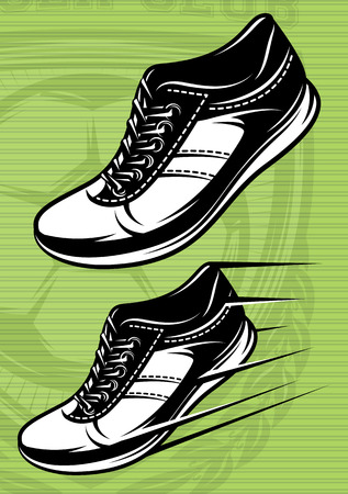 stride: vector illustration with a set of running shoes on a green football field