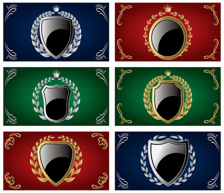 aristocratic: set of vector templates with heraldry and shields Illustration