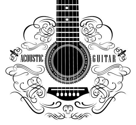 grungy achtergrond met zwarte akoestische gitaar Stock Illustratie