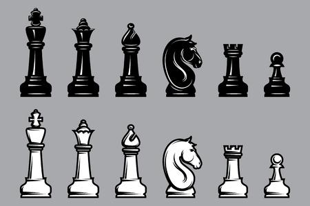 caballo negro: conjuntos de vectores de ajedrez en blanco y negro con parte del tablero de ajedrez Vectores
