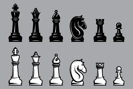 horse competition: vector sets of black and white chess with part of the chessboard