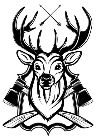 deer buck: vector illustration of a stags head as a trophy Illustration