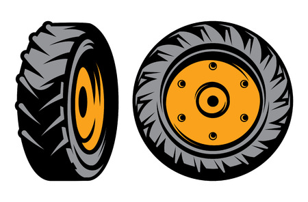 vector set of monochromatic tractor wheels of different kinds Vector
