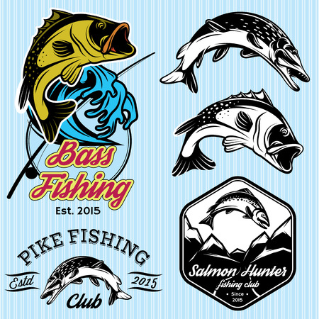 fishing catches: set of vintage patterns with emblems for fishing with pike, salmon, bass