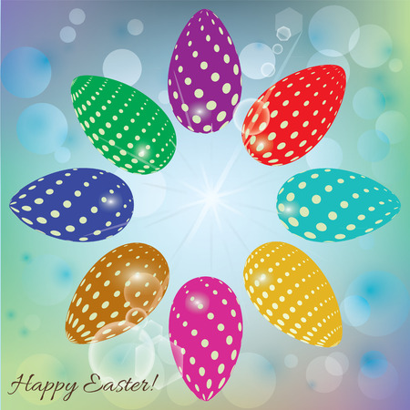 lensflare: abstract vector background with colored eggs for Easter