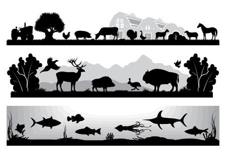animales de granja: conjunto de vector de blanco y negro Paisajes de la fauna, granja, vida marina