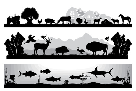 scenes: set of black and white vector landscapes wildlife, farm, marine life Illustration