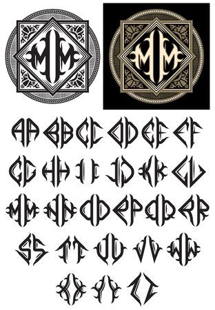 stile liberty: modello vettoriale del monogramma in stile Art Nouveau con un alfabeto completo