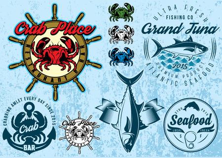 cangrejo: Conjunto de plantillas con cangrejo y atún para los mariscos embalaje de diseño