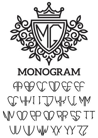 bilateral: Vector heraldic template monogram with the bilateral alphabet Illustration