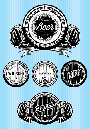 whisky: set of vector patterns for monochromatic emblems with barrels