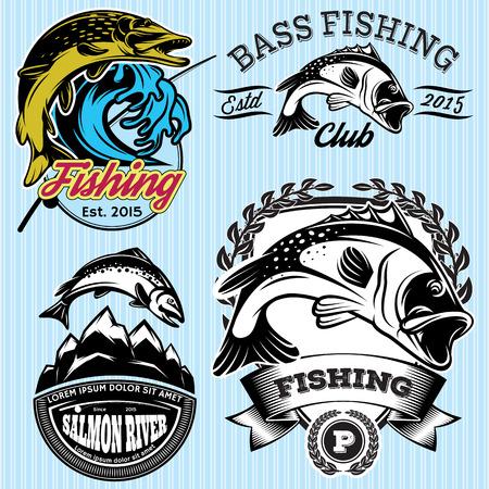 truchas: Conjunto de modelos de la vendimia con emblemas para la pesca con el lucio, el salmón, lubina