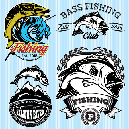 bass: set of vintage patterns with emblems for fishing with pike, salmon, bass