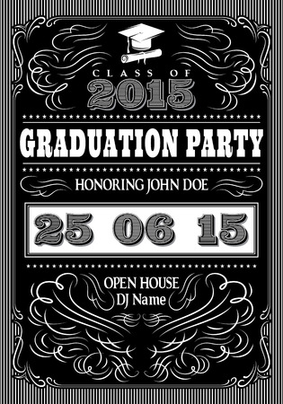 black graduate: template for the posters of graduate party