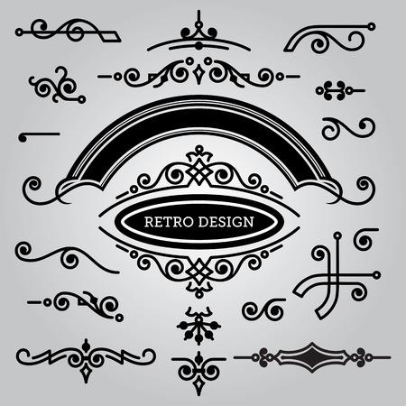 set of decorative elements in vintage style Ilustrace