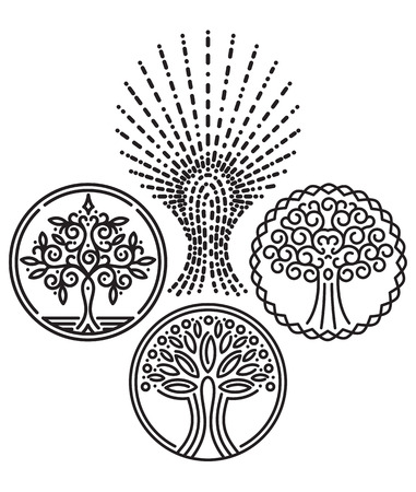 vector set of templates with trees for Badges, stamps