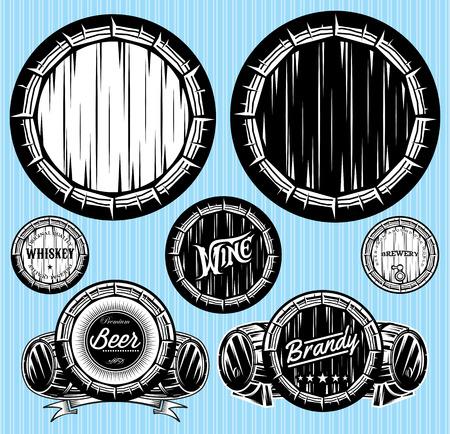 barrels set: set of vector patterns for monochromatic emblems with barrels