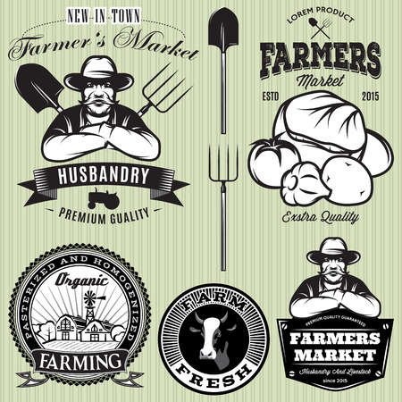 farmer: set of badges with the farmer and vegetables for the farmers shop